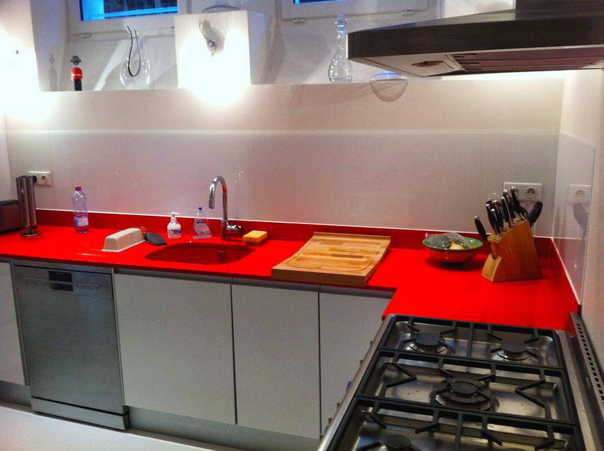 Cr dence de cuisine en verre gris m tal abm - Credence cuisine orange ...